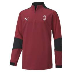 PUMA AC Milan 1/4 Zip Trainingstrui 2020-2021 Kids Donkerrood Zwart